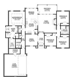 Single story open floor plans one story 3 bedroom 2 for Courtyard entry house plans