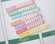 This listing is for 60 x WATER Planner Stickers for the Erin Condren Life Planner (they can also be used in any other planner!) in your choice of: