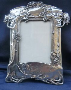 Art Nouveau Pewter Picture Frame | eBay
