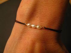 The Wish - Freshwater Pearl Bracelet Silk Cord June Birthstone Minimalist Modern Sexy