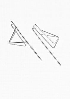 & Other Stories Triangular Pin Earrings in Silver