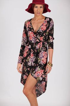 Lotus Boutique - Floral High Low Printed Dress  #dress, #floral, #flowers, #highlow, #print, #printed, #prints.