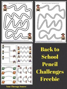 Back to School Pencil Challenges Freebie fromhttp://yourtherapysource.com/pencilchallengesbacktoschoolfreebie.html
