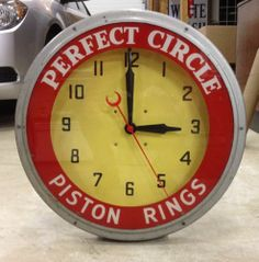 Perfect Piston Rings Neon Gas Station Clock Sign