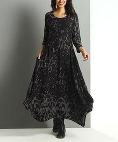 Look at this #zulilyfind! Charcoal Floral Handkerchief Maxi Dress #zulilyfinds