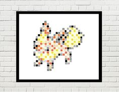 flareon art, flareon poster, flareon print, pokemon print, game art, video game, eevee, eevee evolution, pokemon art, pokemon poster, pixel art, flareon pixel art, pokemon by PixelDesignsUP