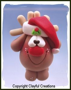 Becky's Polymer Clay  Pot Belly Reindeer Santa by clayfulcreations