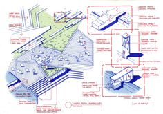 Sketch overall detail:Sale office (view01)/entry stair case with overflow pond