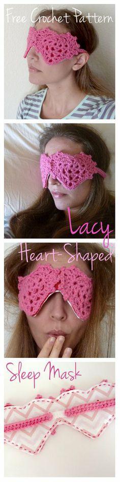 Crochet sleep mask, heart shape for Valentine's Day
