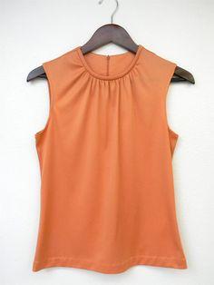 Vintage Shirt Sleeveless Peach 70s 80s Back by PinkCheetahVintage, $16.00