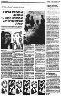 Muerte de Julio Cortázar. Publicado el 13 de febrero de 1984.