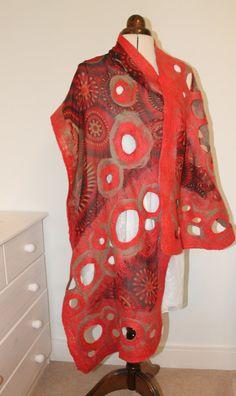 Handmade coral red - nuno felt scarf, felted wrap made with silk chiffon - Hijab Clothing Nuno Felt Scarf, Wool Scarf, Felted Scarf, Nuno Felting, Wool Felting, Handmade Scarves, Silk Chiffon, Neck Warmer, Wearable Art