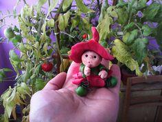 Fimo Гномик, ребенок, малыш, полимерная глина, холодный фарфор, шляпа, огород, сад
