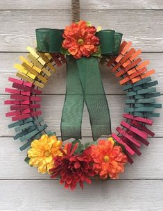 Summer Clothespin wreath for front doorExcited to share this item from my shop: Summers Clothespin wreath for front door Clothes Pin Wreath, Clothes Pegs, Wreath Crafts, Diy Wreath, Clothespin Crafts, Wreath Making, Diy Crafts To Do, Fall Crafts, Thanksgiving Crafts