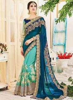 Buy Demure Faux Chiffon Green Half N Half Saree, Online #sarees #royal #designersarees #ethnic #glamour #sareelove #sareesonline #womensarees #indianwear