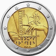 2 euro Italy 2009, 200th Anniversary of birth of Louis Braille. Commemorative 2 euro coins from Italy