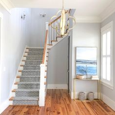 Our new stair runner and entryway rug to make our home more cozy and welcoming! Interior Staircase, Staircase Remodel, Staircase Design, Staircase Carpet Runner, Carpet Stairs, Entryway Lighting, Entryway Decor, Redo Stairs, Small Staircase