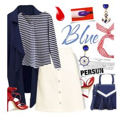 """Blue...and red"" by ansev ❤ liked on Polyvore featuring Steve Madden, H&M, L'Oréal Paris, NARS Cosmetics, persunmall and persun"