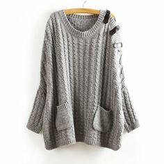 49,90EUR Pullover mit Schnallen grau Fledermausärmeln