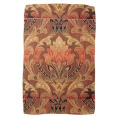 Oriental, Brocade Pattern Gold Hue Print Hand Towel
