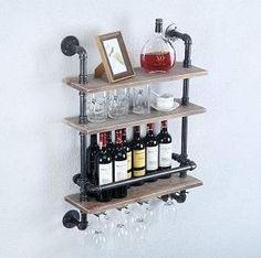 Wine Glass Rack, Wine Rack Wall, Wine Bottle Holders, Glass Holders, Industrial Wine Racks, Pipe Rack, Pallet Wine, Pipe Decor, Rustic Walls