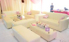 Lounge area set up for the bridal train