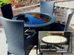 Garden Wicker Furniture - Round Dining Set with 4 Armchairs Graphite Grey Sectional Furniture, Wicker Furniture, Outdoor Furniture Sets, Outdoor Decor, Contemporary Garden Furniture, Round Dining Set, Sustainable Furniture, Modern Patio, Armchairs