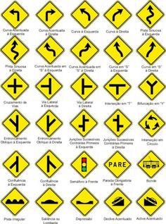placas de transito de advertência                              …