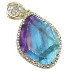 $78.25 Exclusive+AAA+Purple+Fluorite+&+White+Topaz+Sterling+Silver+Pendant at www.SilverRushStyle.com #pendant #handmade #jewelry #silver #fluorite