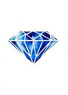 Items similar to Diamond Illustration Art Print on Etsy Diamond Logo, Diamond Tattoos, Diamond Art, Diamond Graphic, Diamond Design, Diamond Rings, Art And Illustration, Diamond Illustration, New Tattoos