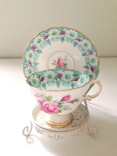 Vintage English Rosina Bone China Tea Cup & Saucer