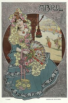 Gaspar Camps i Junyent (Spanish, painter, illustrator and poster artist of the Art Nouveau and Art Deco. From the Barcelona magazine Álbum Salón Art And Illustration, Illustrations, Alphonse Mucha, Design Art Nouveau, Decoupage, Vintage Art, Vintage Images, Retro, Jugendstil Design