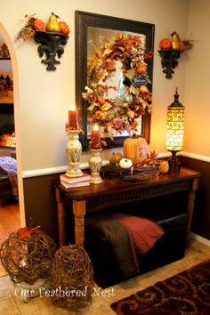 Fall Decor 2013, Its beginning to look a lot like Fall around my home... Im just starting to dig into those decor boxes and bring out some of my favorite treasures! :), Our foyer with  Fall decor , Holidays Design