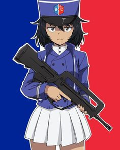 Cute French girl with a Famas (Girls Und Panzer) {Artist} Anime Military, Military Girl, Comic Pictures, Manga Pictures, French Anime, Guerra Anime, Anime Warrior Girl, Anime Uniform, Dc Comics