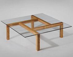 Pierre Guariche; Unique Ash and Glass Coffee Table for His Apartment, 1960.