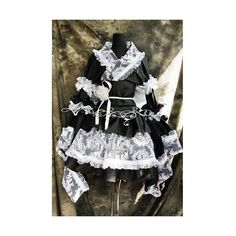 Petite-Plus Size Black White Lace Kimono Gothic Lolita Cosplay Dresses... ($350) ❤ liked on Polyvore featuring costumes, plus size womens costumes, women's plus size halloween costumes, goth costume, gothic costumes and cosplay halloween costumes
