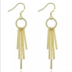 Elegant Gold Filled Dangle Drop Earrings Brand New also available in silver #E072 Jewelry Earrings