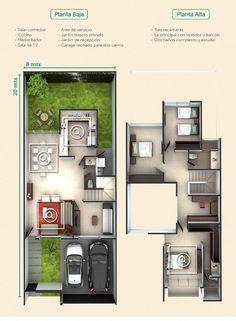 Vivienda aaa Duplex House Plans, Dream House Plans, Modern House Plans, Small House Plans, Modern House Design, House Floor Plans, House Construction Plan, Small Villa, Casas The Sims 4