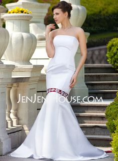 Wedding Dresses - $162.99 - Mermaid Strapless Court Train Satin Wedding Dress With Lace Sashes Beadwork (002011613) http://jenjenhouse.com/Mermaid-Strapless-Court-Train-Satin-Wedding-Dress-With-Lace-Sashes-Beadwork-002011613-g11613