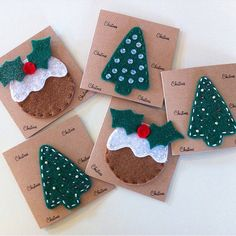 Set of 5 Cute Felt Handmade Christmas Cards  ~ Christmas Pudding by RaspberryAndThyme