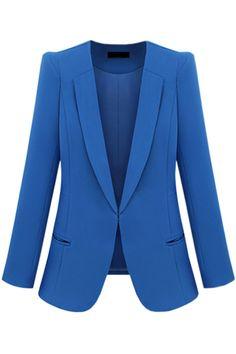 Pocket Blue Blazer #Romwe