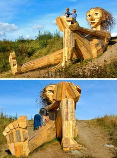 Hidden in the forest on the outskirts of Copenhagen, Denmark, are six large recycled wood giants by artist Thomas Dambo, that can be found via a treasure map. Copenhagen Travel, Copenhagen Denmark, Instalation Art, Old Trees, Treasure Maps, Recycled Wood, Wood Sculpture, Bird Houses, Wood Art