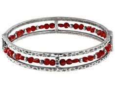 Aztec Style(Tm) Free Form Red Coral Bead Sterling Silver Bangle Bracel