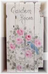 Handpainted Romantic Rose Cottage Fence