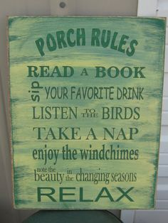 Porch Rules Subway Sign Distressed and Antiqued