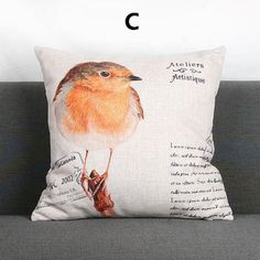 Bird pillow Pastoral Vintage style couch cushions for home decoration