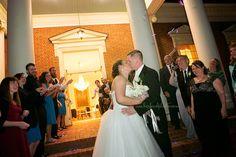 Wedding exit with mini glow sticks