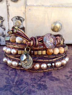 Brown Leather Charm Bracelet Wrap Neutral by CountryChicCharms, $82.00