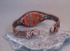 Lampwork Glass Wire Wrapped Copper Bracelet