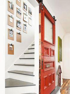 Fantastic barn style door! Love the clipboard wall too!